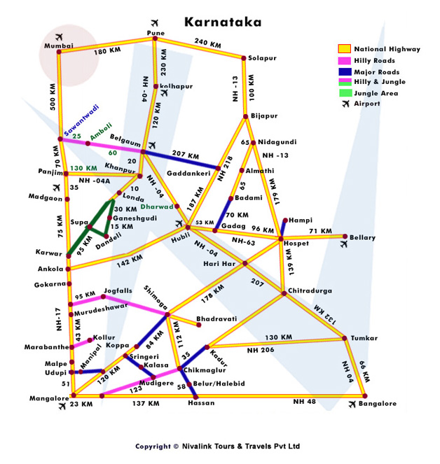 Tourist Map of Karnataka for Travel Packages