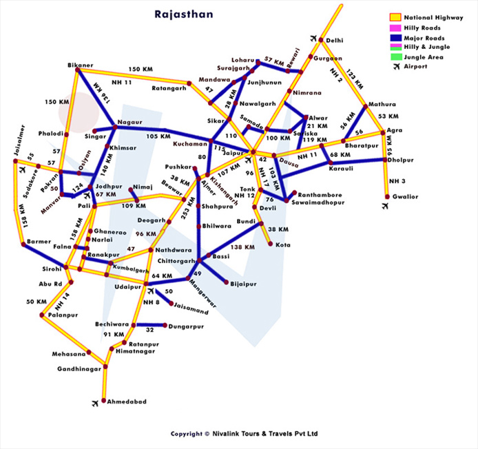 Tourist Map of Rajasthan for Travel Packages